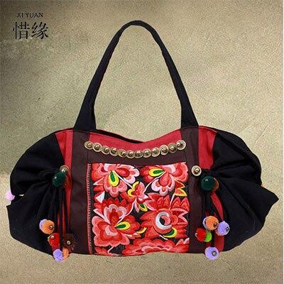 XIYUAN BRAND elegant women full season national Embroidered cotton Floral ball Bells shoulder bag ladies hand bags tote for girl