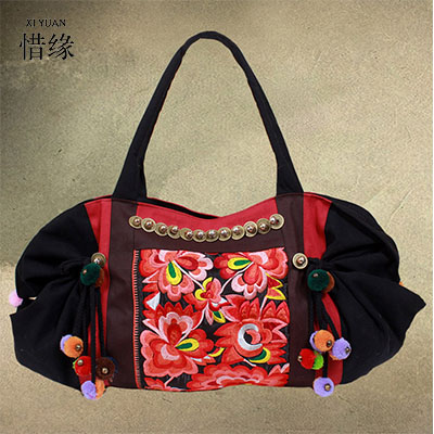 XIYUAN BRAND elegant women full season national Embroidered cotton Floral ball Bells shoulder bag ladies hand bags tote for girl chic off the shoulder striped floral embroidered midi dress for women