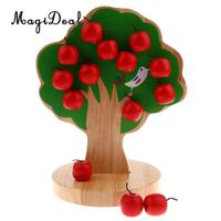 MagiDeal Kids Wood Toys Magnetic Appletree Toys Montessori Toys Educational Math Toy Gift for Baby Toddler Preschool