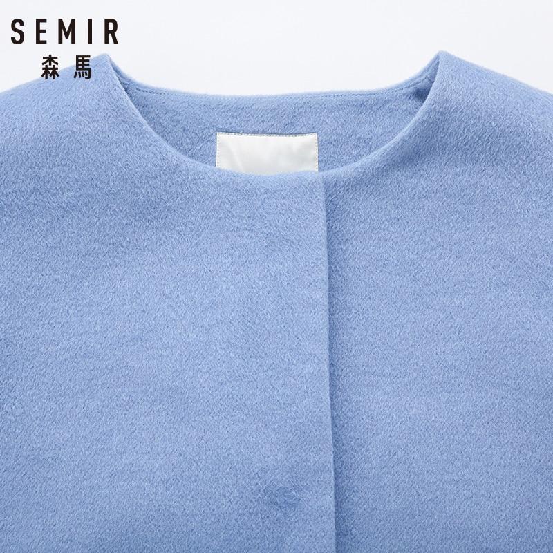 Veste 2018 Pour Femelle Blue Femmes Frais Causalité De Manteaux D'hiver cou Laine Col Femme Taille O Unique Semir Solide Longue HaTgqBa