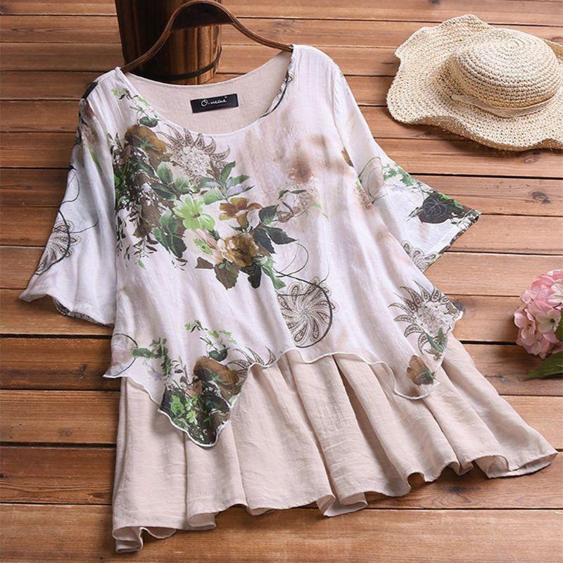 2019 Women Plus Size Spring Casual Cotton Linen O Neck Long Sleeve Boho Floral Printed Irregular Loose Party   Blouse     Shirt   Top
