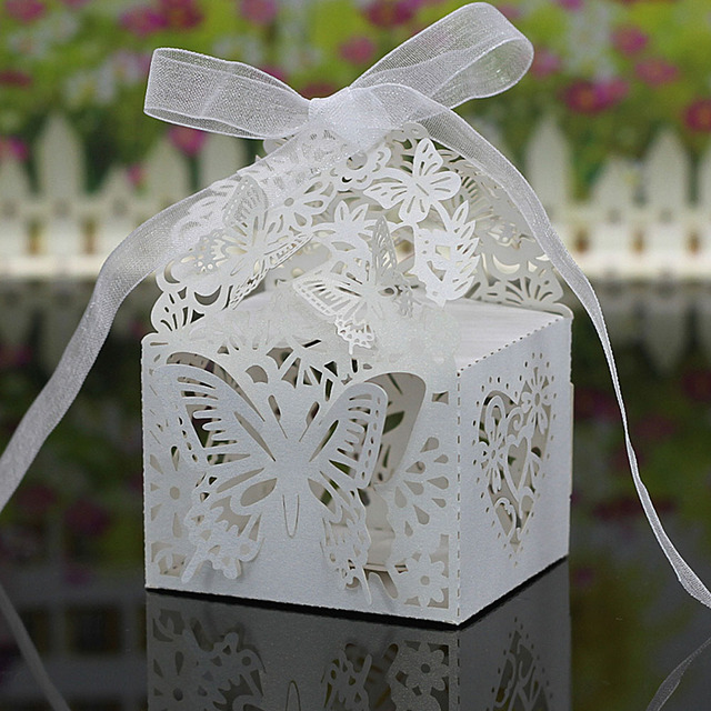20PCS Laser Cut 3D Romantic Butterfly Gift Wedding Candy Box Wedding Decoration Wedding Favor Boxes Gift Box