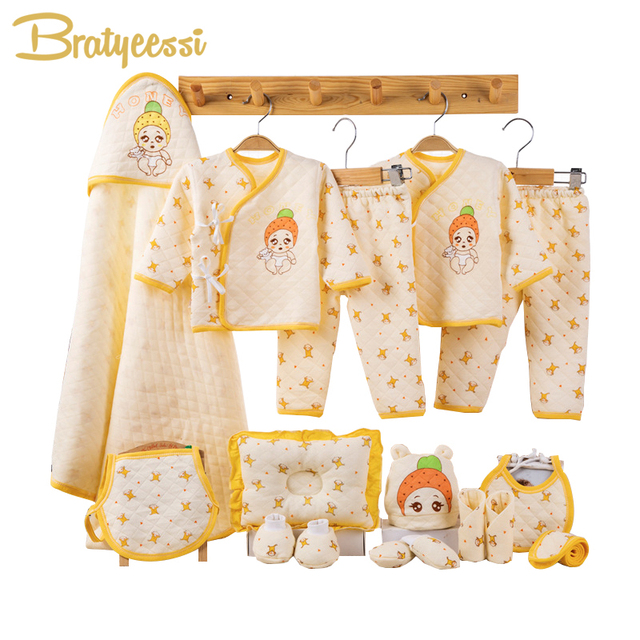 Cartoon Newborn Baby Girl Clothes Winter Thick Cotton Baby Set Infant Clothing New Born Baby Boy Clothes Set Gift 3 Colors