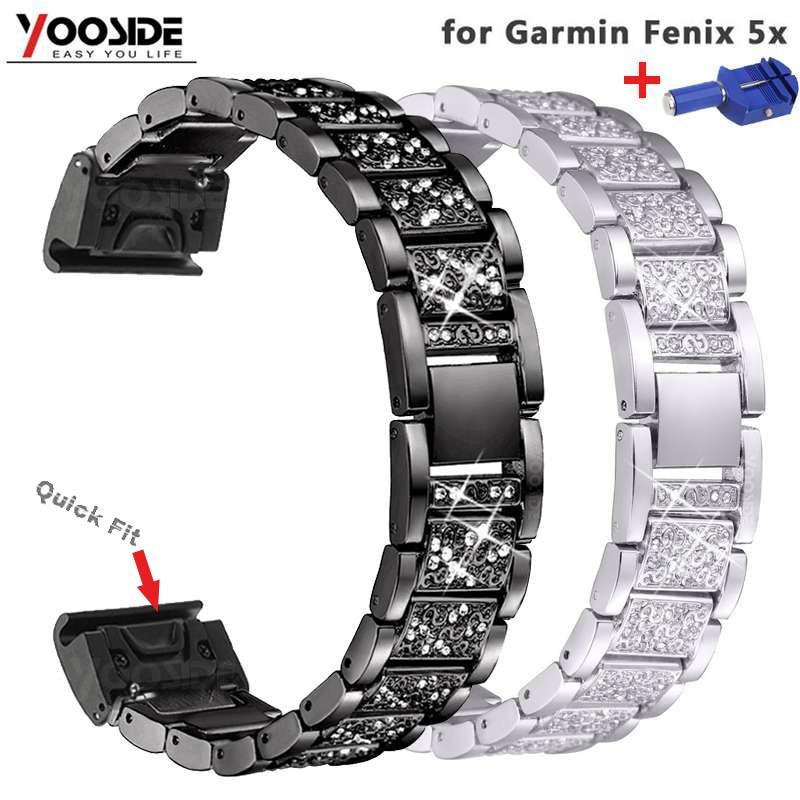Relógio de Substituição Pulseira para Garmin Ajuste Rápido Metal Strass Bling Bandas Ajustável Fenix 5x – 3 Não Apto Fenix5 5s Feminino 26mm