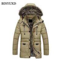 BINYUXD Winter Jacket Men Cotton Solid Thicken Fake Fur Hooded Windproof 2017 Men S Fashion Outwear