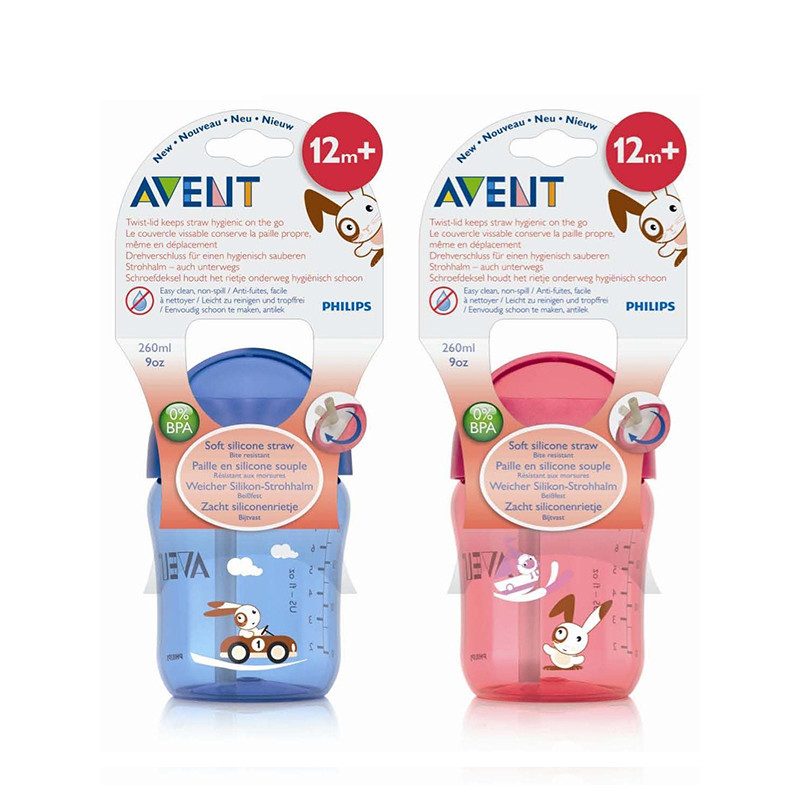 AVENT 260ml 9oz Cartoon Baby Straw Cup Water Drinking BPA Free Bottle Child Feeding Cup for
