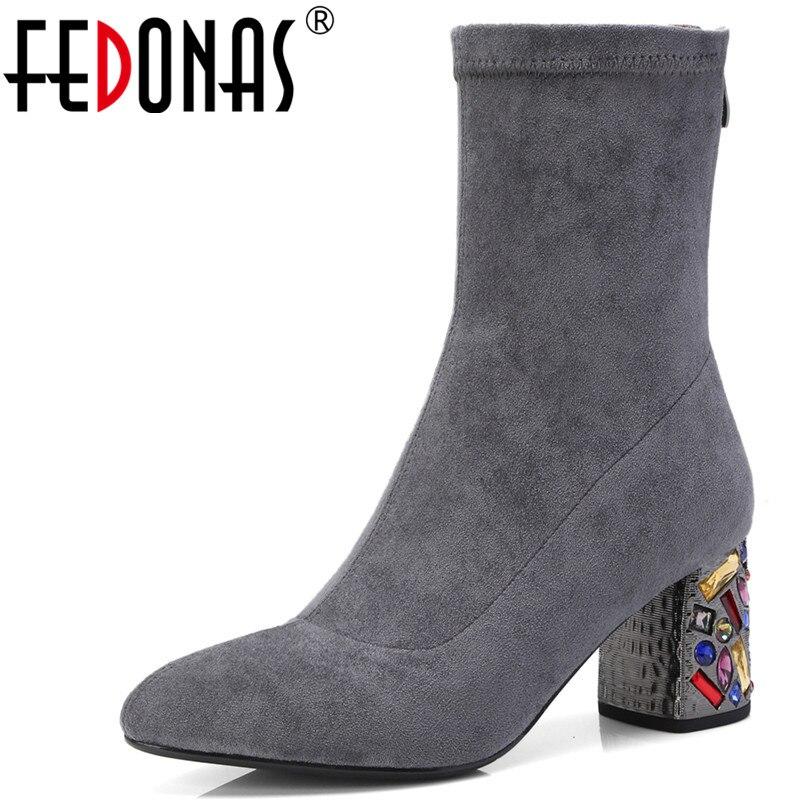 цена на FEDONAS 1Fashion Women Ankle Boots Autumn Winter Warm High Heels Shoes Rhinestone Decoration Party Dancing Quality Shoes Woman
