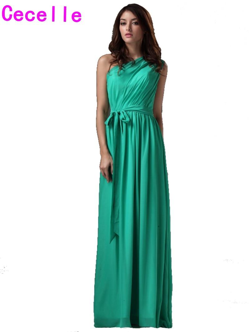 Green One Shoulder Boho Long Bridesmaids Dresses Floor Length Maxi ...