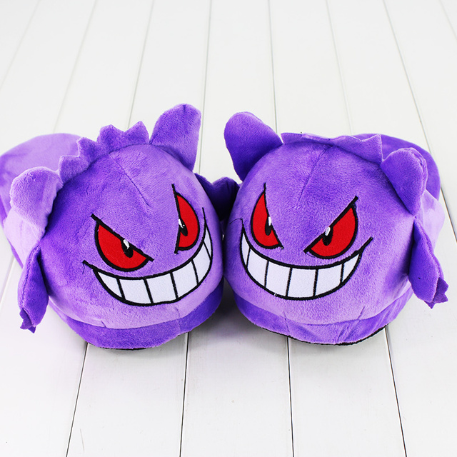 a10808d389b7 1Pair 28cm Soft Slippers Gengar Winter Indoor Plush Slippers Unisex Warm  Home Slippers Shoes