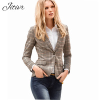 Autumn Women New Suit Coats 2017 Ladies Slim Suit Sleeves Female Plaid Slim Blazer For Women
