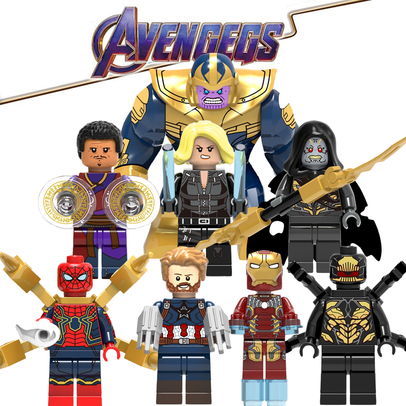 LegoING Avengers Marvel Super Heroe Thanos Iron Man Spiderman Outtrider Playmobil Building Bricks Minifigured Children Gift Toys