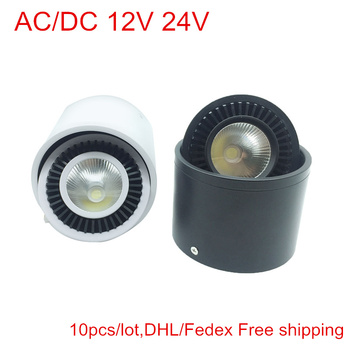 AC/DC 12V 24V COB LED Downlights 5W 7W 9W 15W Surface Mounted LED Ceiling Lamps Spot Light 360 Degree Rotation Indoor light