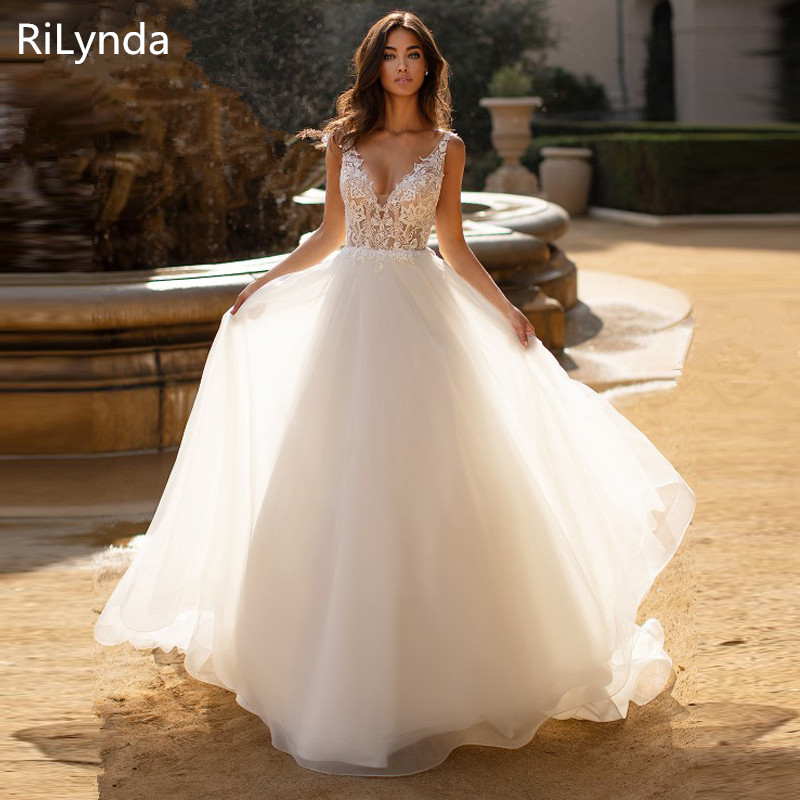 New Wedding Dresses Summer A-Line Lace Appliques with Tulle Bridal Gown V-Neck Sleeveless Backless vestido de noiva Customize