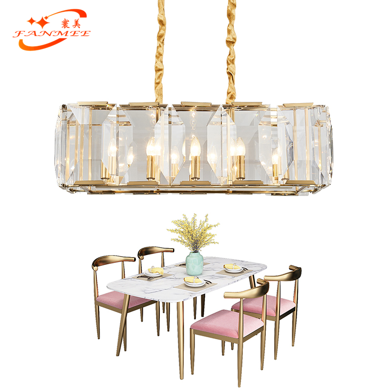 Modern Linear Led Chandelier Crystal Lamp Luxury K9 Crystal