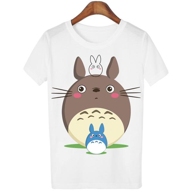 Casual T-shirt Women T Shirt Harajuku Totoro Print Camisetas Mujer Tops o-neck tshirt Cute Tees Femme