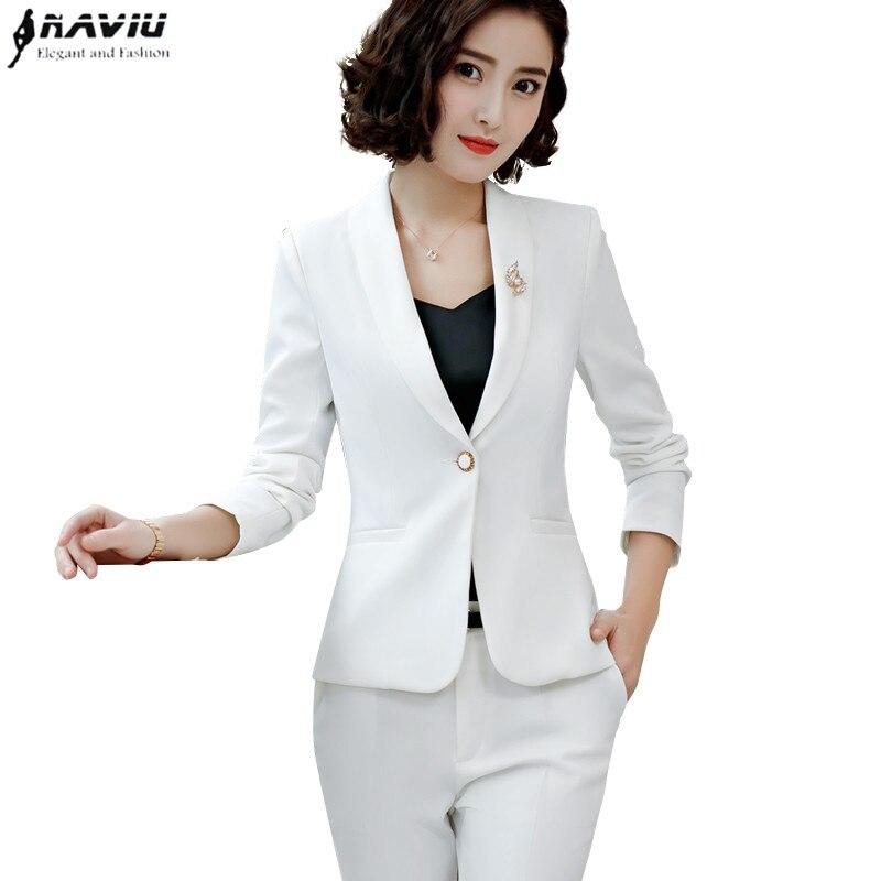 Fashion Elegant pants suits women temperament Business white long sleeve blazer and trousers office ladies plus