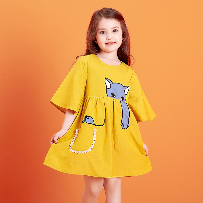 2017 Cute Baby Girls Dress Mustard Color Dress Little Fox Design Kids Cartoon Characters Clothes For Age 2345678 Years Old