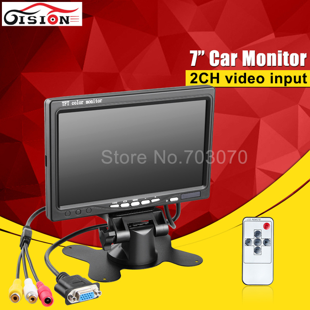 Gision VGA 7inch car parking monitor hd rear view color tft display screen for car camera/ bus dvr free shipping