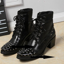 Winter Mens shoes high heels black genuine leather cool military army boots rivets decor metal tip ankle cowboy boots mens wrinkled leather men ankle boots pointed toe mens black safety shoes rivets high top military boots double zip cowboy boot tenis