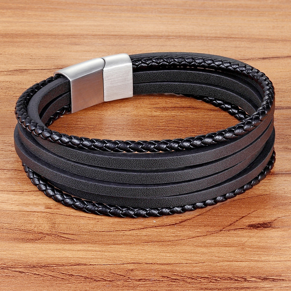 TYO Multi-Layer of Genuine Leather Bracelet For Male Magnetic Clasp Black/Brown Color Braided Bracelet&Bangle For Birthday Gift