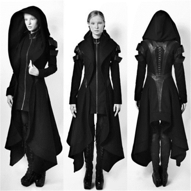 c695b7cae Irregular Women Hooded Coat Punk Goth Cosplay Cyber Steampunk Witch Long  Jacket S-5XL 8906