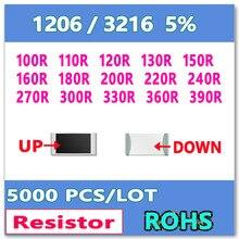 JASNPROSMA 1206 J 5% 5000 шт. 100R 110R 120R 130R 150R 160R 180R 200R 220R 240R 270R 300R 330R 360R 390R 3216 Ом резистор