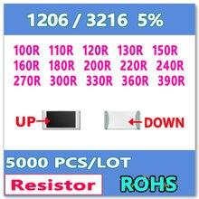 JASNPROSMA 1206 J 5% 5000pcs 100R 110R 120R 130R 150R 160R 180R 200R 220R 240R 270R 300R 330R 360R 390R 3216 OHM Resistor