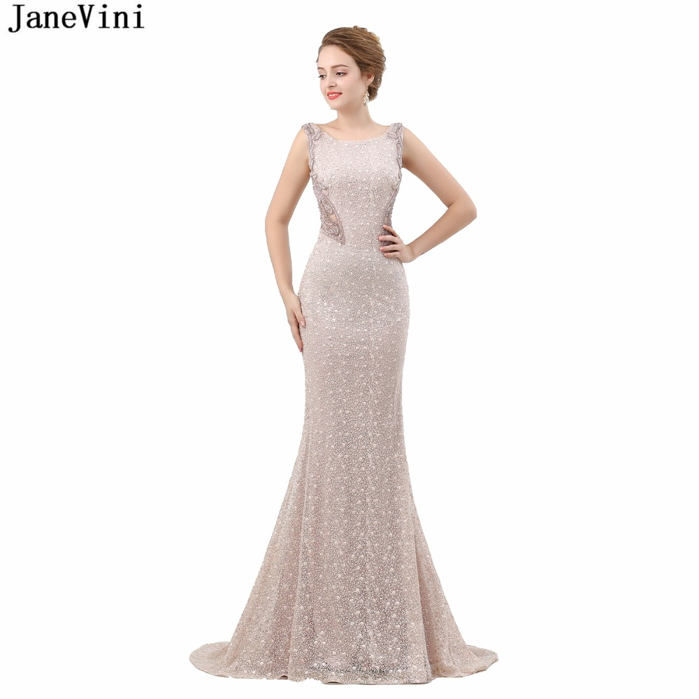 JaneVini Luxury Mermaid Long   Bridesmaid     Dresses   Sweep Train 2019 Shiny Beading Pageant   Dress   Scoop Neck Lace Formal Prom Gowns
