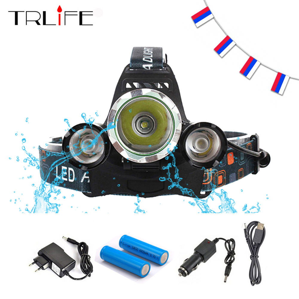 15000Lm CREE XML T6+2R5 LED Headlight Headlamp Head Lamp Light 4Mode torch +2x18650 battery+EU/US Car charger for fishing Lights