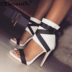 DEleventh Marke Mode frauen Schuhe Stoff gürtel Rom Gladiatoe Peep-Toe Farbe Kollision Patchwork Stilettos High Heels Sandalen