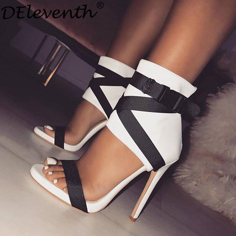 DEleventh Marque De Mode Femmes Chaussures de Tissu ceinture Rome Gladiatoe Peep-toe Couleur Collision Patchwork Stylets de Hauts Talons Sandales