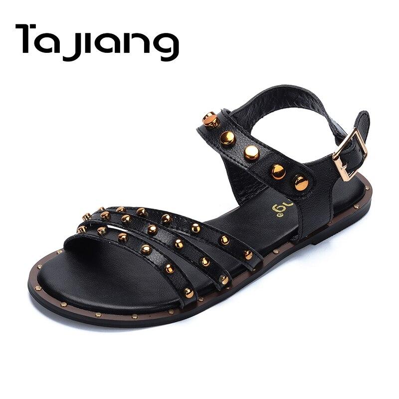 Ta Jiang véritable cuir de vache or Rivets femmes sandales été talons carrés femmes gladiateur sandales plates dames chaussures de plage femme