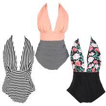 Womens One Piece Bikini Sexy Deep V-Neck Stripes Color Block Monokini Halter Tie High Waist Pleated Swimsuit Backless Beachwear
