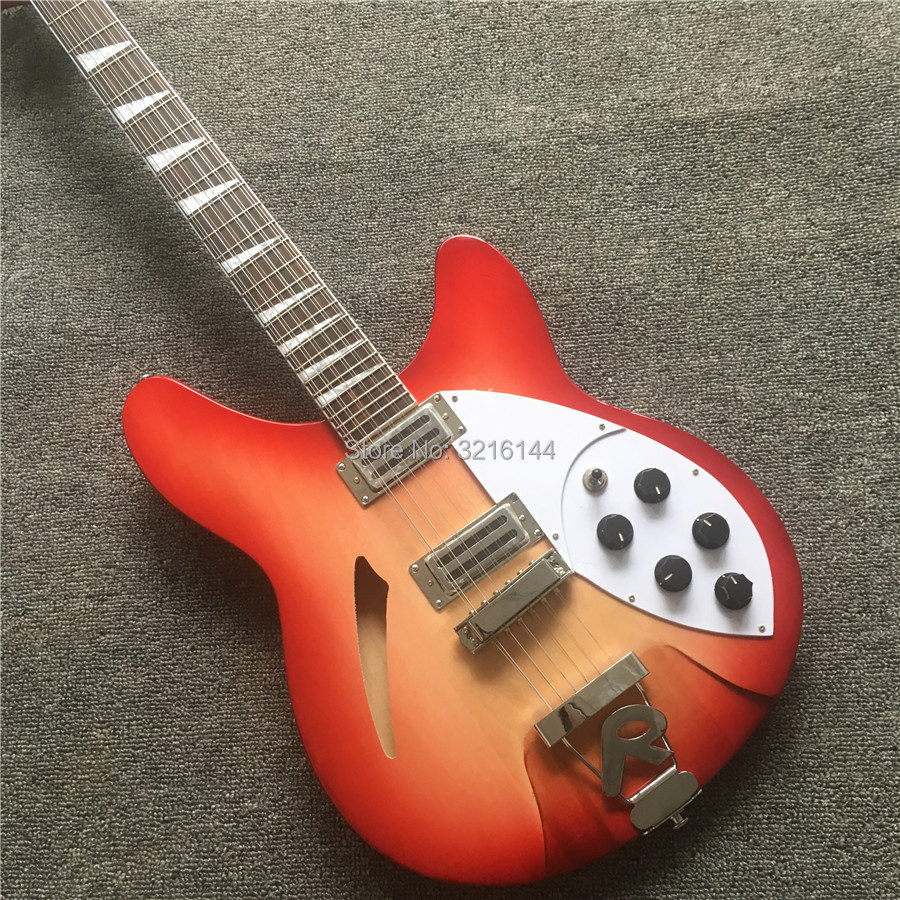 Semi Hollow body Rick <font><b>360</b></font> Electric <font><b>guitar</b></font> 12 strings <font><b>guitar</b></font> in Cherry burst color, All Color are available, Wholesale CS image