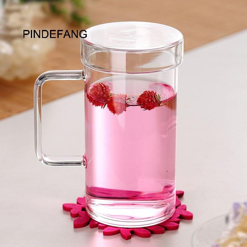 PINDEFANG 650 мл большая офисная кружка для воды с крышкой термостойкие стеклянные чашки бутылка для сока подарок на день рождения Чай Молоко Кру