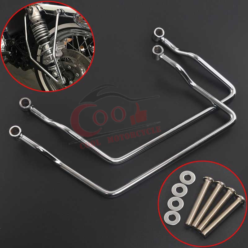 Motorcycle Aluminum Saddle Bag Chrome Mount Bracket Fits For <font><b>Yamaha</b></font> V-Star Dragstar <font><b>XVS</b></font> 400 <font><b>650</b></font> Classic Custom image
