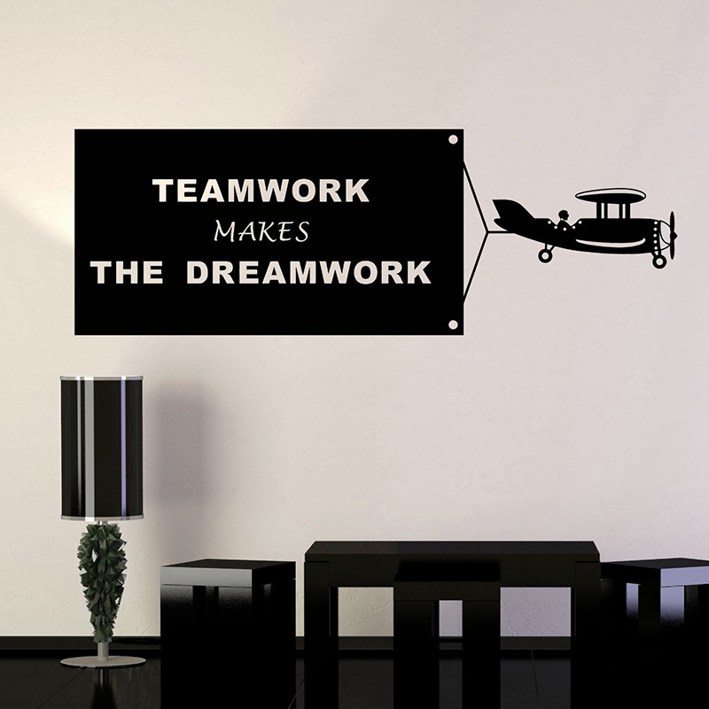 Teamwork Quote Wall Decals Teamwork Make Dreamwork Wall Sticker For Office Room Office Decoration Art Stickers Murals H215