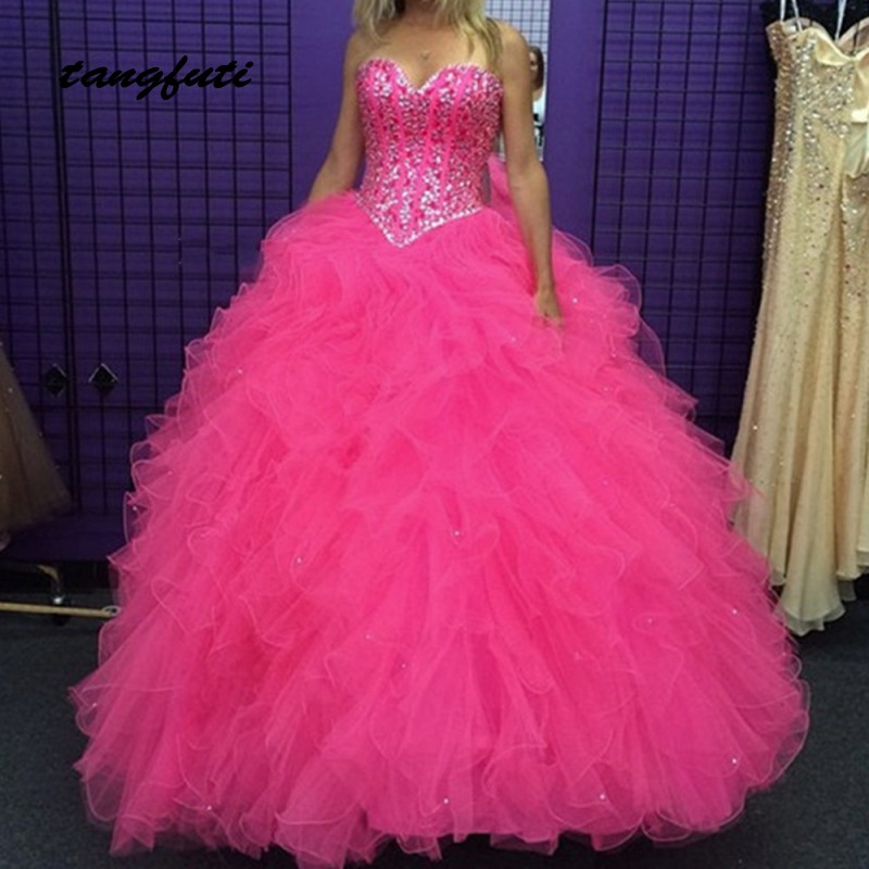 Luxury Tiered Quinceanera Dresses Ball Gown Long 2019 Sweet 16 Dresses Beaded Sequins Masquerade vestidos de 15 anos Prom Party