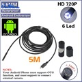 DHL 20pcs/lot Android USB Endoscope 6 LED 5.5mm Lens Waterproof Inspection Borescope Tube Camera with 5M Cable