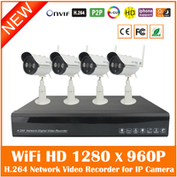 4CH Full HD 1080P H 264 Network Video Recorder 4Pcs Outdoor WiFi Wireless 1280 960P IP