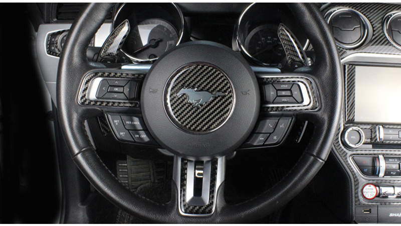 2015-2018 For Ford Mustang Carbon Fiber Steering Wheel Button Cover Trim 5PCS
