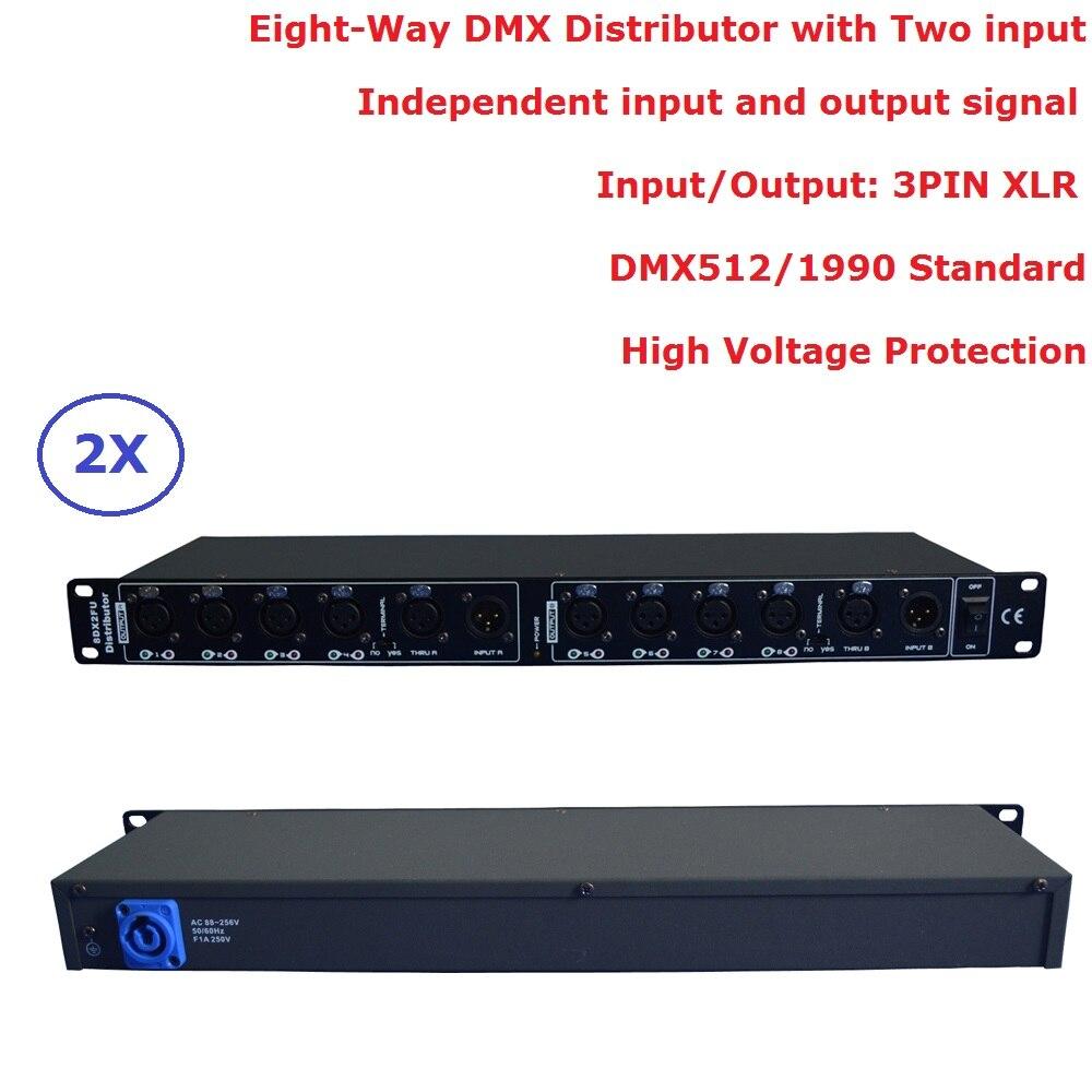 2 pz/lotto DHL/FedEx Libero DMX512 Splitter Luce Amplificatore di Segnale Splitter Otto Vie Distributore DMX Per Luce in movimento Della Testa