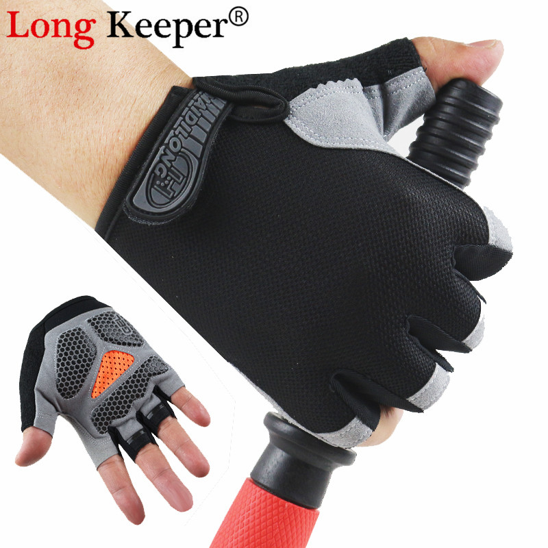 Long Keeper Cycling Anti-slip Anti-sweat Men Women Half Finger Gloves Breathable Anti-shock Sports Gloves MTB Bike Bicycle Glove