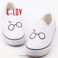 E LOV Customized Graffiti Flat Lazy Shoes Printed Canvas Shoes Men Boys Outdoor Casual Loafers Walking
