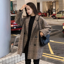 Korean Version Loose Checked Woolen Coat Short Small Suit Autumn Winter New Style Wool 2019 Women Fashion jacket