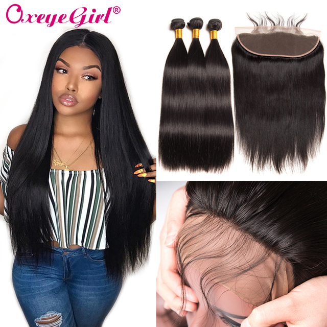 Straight Hair Bundles With Frontal Peruvian Hair Lace Frontal With Bundles Human Hair 3 Bundles With Frontal Closure Non Remy