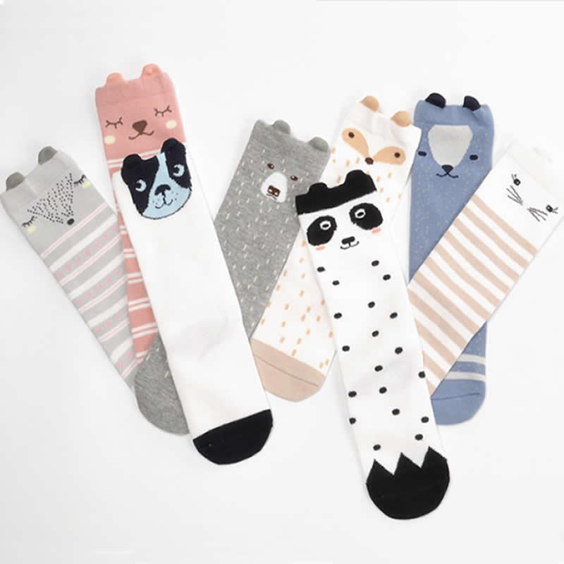 Cartoon Girls Socks Knee High Infant Non-slip Baby Pure Cotton Socks Boys Tube Strip Animal Knee Socks