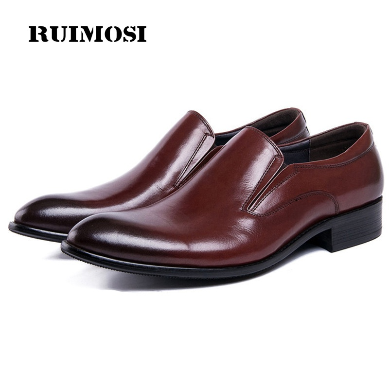 RUIMOSI Pointed Toe Slip on Man Casual Shoes Genuine Leather Male Bridal Loafers Luxury Brand Designer Men's Wedding Flats DK88