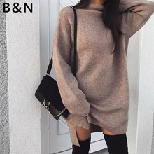 2019 Autumn winter women Casual plus-size loose knitted sweater dress turtleneck Split pullovers Vestido High quality plus size pullovers dress 2018 new fashion long turtleneck knitted sexy women autumn winter sweater dress yp0141