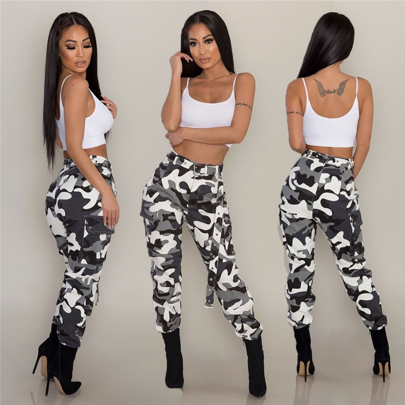 New Women Camouflage Long Pants Camo Ladies Casual Cargo Joggers Military Army Harem Trousers Clubwear Dance Club Fashion Plus